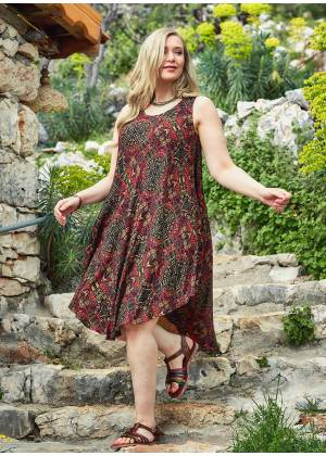 Ethnic Print Scoop Neck Round Hem Plus Size Dress
