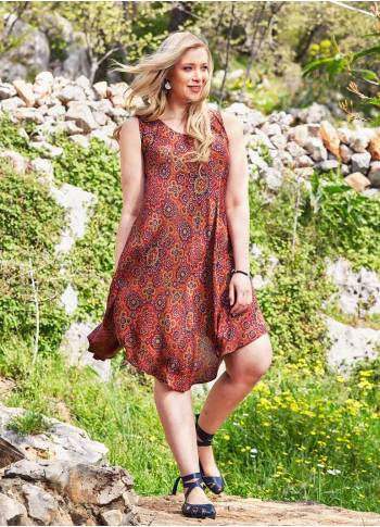 Retro Print Scoop Neck Round Hem Plus Size Dress