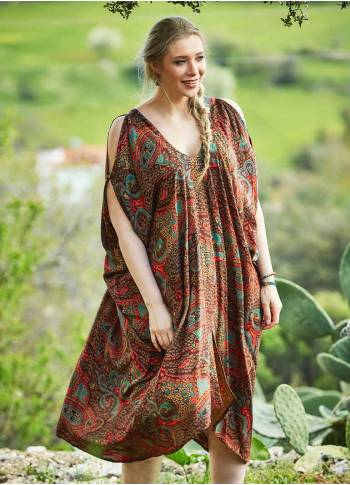 Ethnic Print Sleeveless Plus Size Brown Dress