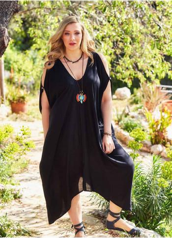 Deep V Neck Bohemian Style Plus Size Black Cold Shoulder Dress