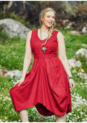 Tie Waist V Neckline Bohemian Style Red Cotton Plus Size Dress