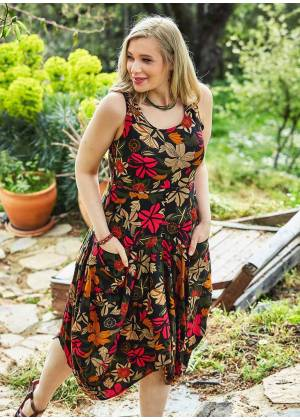 Asymmetrical Hem Detail Floral Cotton Wholesale Plus Size Dress
