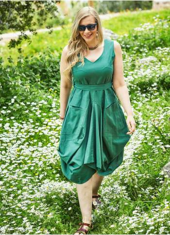Asymmetrical Hem Tie Waist Plus Size Green Dress