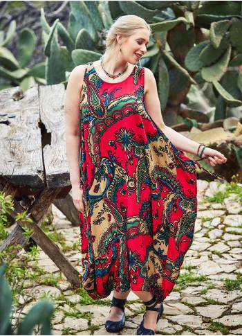 Ethnic Print Scoop Neck Plus Size Maxi Red Dress