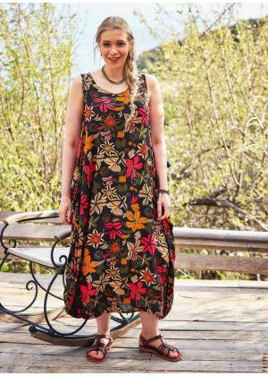 Oversize Buttoned Pockets Detail Floral Wholesale Plus Size Dress