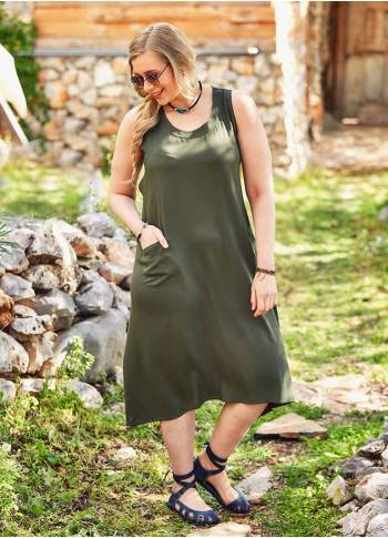 Boho Boat Neck Wrap Detailed Plus Size Khaki Dress