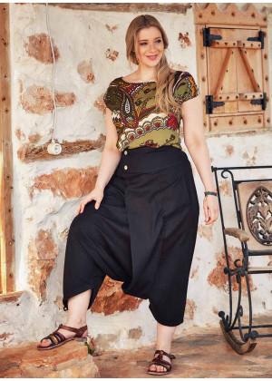Wrap Front Elastic Waist Bohemian Wholesale Plus Size Harem Pants