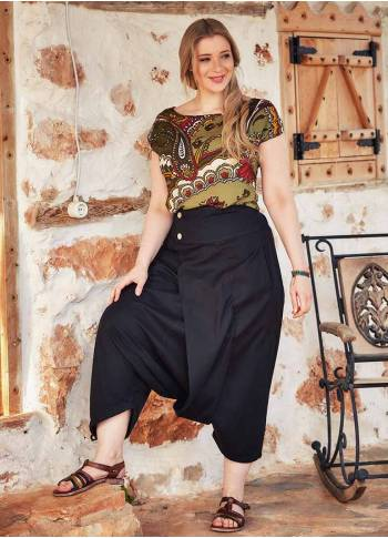 Boho Adjustable Hem Plus Size Black Harem Pants