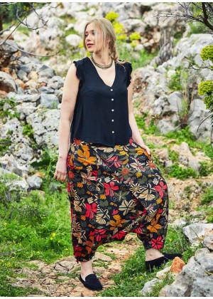 Wrap Front Elastic Waist Bohemian Floral Plus Size Harem Pants