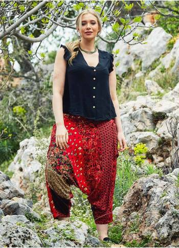 Ethnic Patch Print Elastic Waist Plus Size Pants