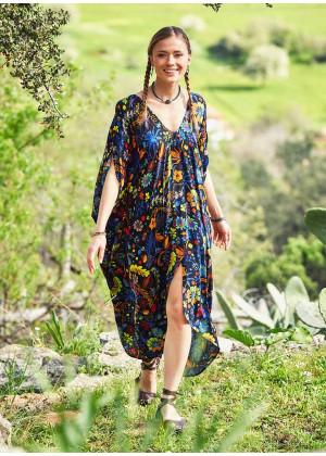 V Neck Asymmetrical Hem Boho Chic Cold Shoulder Tropical Dress