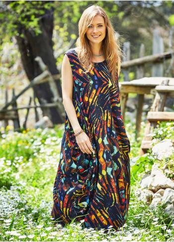 Scoop Neckline Sleeveless Bohemian Printed Loose Fit Long Dress