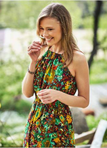 Floral Print Halter Neck Wrap Skirt Long Dress