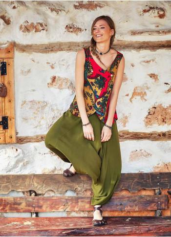 Shirred Waist Elastic Hem Wholesale Boho Style Khaki Harem Pants