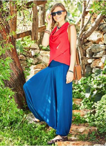 Boho Style Elastic Hem Shirred Waist Flowy Summer Harem Pants