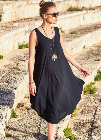 Bohemian Boat Neck Bolt Cut Gypsy Midi Black Dress