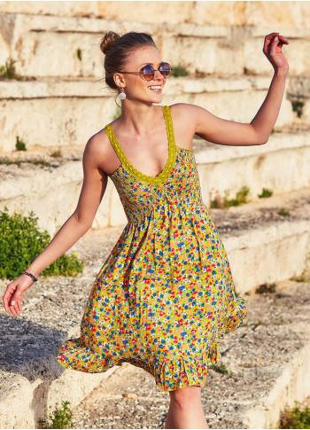 Floral Print Laced Neckline Shirred Back Hippie Style Sundress