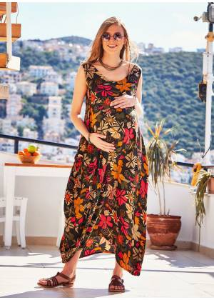 Buttoned Pockets Sleeveless Loose Fit Floral Boho Maternity Dress