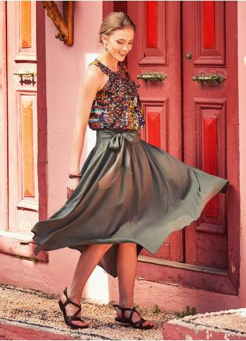 Bohemian Asymmetrical Hem Detailed Tie Waist Flowy Midi Skirt