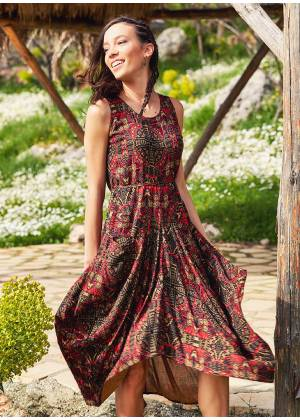 Paisley Print Sleeveless Scoop Neckline Gypsy Dress