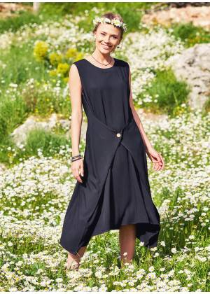 Hippie Wrap Detailed Sleeveless Long Black Dress