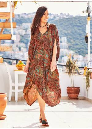 Paisley Print V Neck Hem Detail Gypsy Style Cold Shoulder Dress