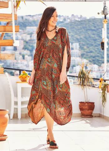 Paisley Print V Neck Hem Detail Gypsy Style Cold Shoulder Dress
