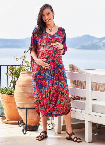 Floral Print Raglan Sleeve Scoop Neck Wholesale Maternity Dress