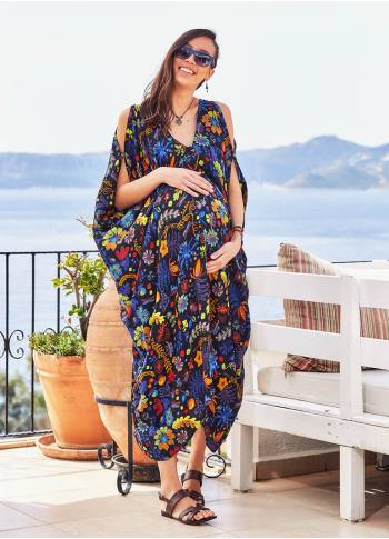 Deep V Neckline Cold Shoulder Tropical Print Boho Maternity Dress