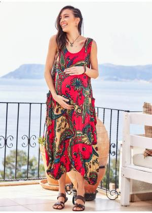 Oversize Buttoned Pockets Paisley Boho Wholesale Maternity Dress