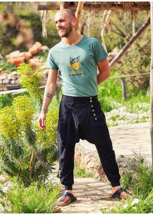 Metal Buttons Boho Men's Drop Crotch Black Pants