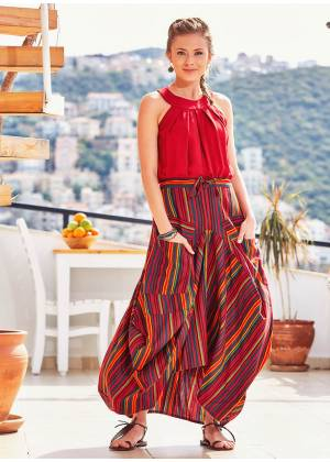 Elastic Waist Oversize Pocket Detail Striped Long Cotton Skirt