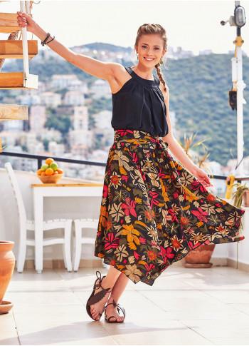Floral Print Asymmetrical Hem Wholesale Bohemian Flowy Midi Skirt