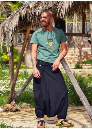 Wrap Front Elastic Waist Boho Wholesale Men's Black Harem Pants