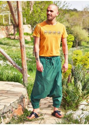 Tie Front Elastic Waist Men's Green Harem Pants