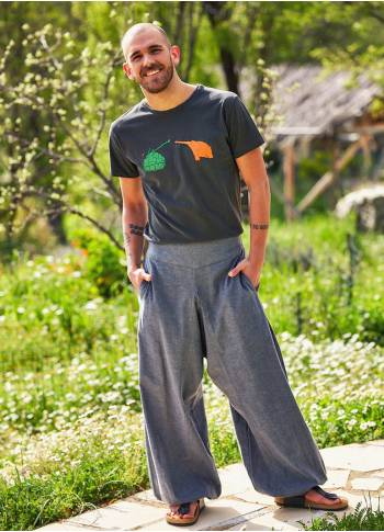 Elastic Waist and Hem Men's Harem Gray Pants