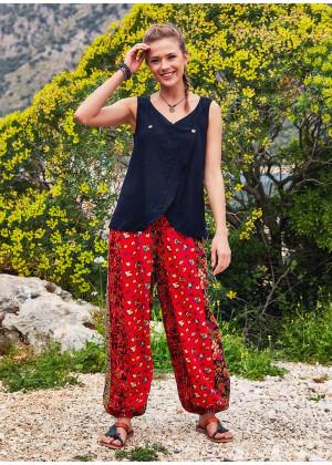Flat Front Elastic Waist Hippie Style Patch Print Harem Pants