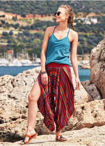 Ribbed Waistband Striped Layered Red Harem Pants