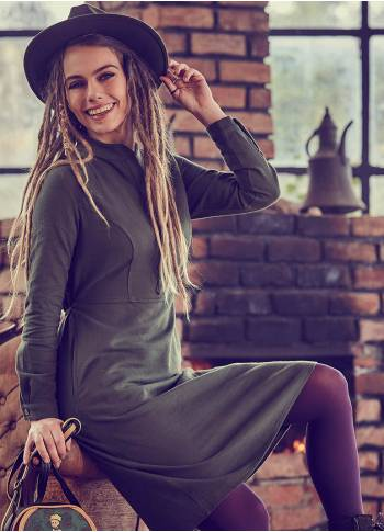 Boho Mandarin Collar Coconut Buttoned Khaki Dress