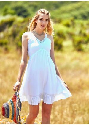 Lace Straps Frill Hem Detail V Neckline Bohemian White Sundress
