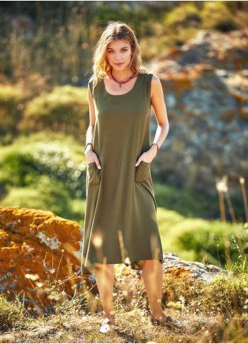Wrap Detailed Boat Neck Sleeveless Khaki Dress