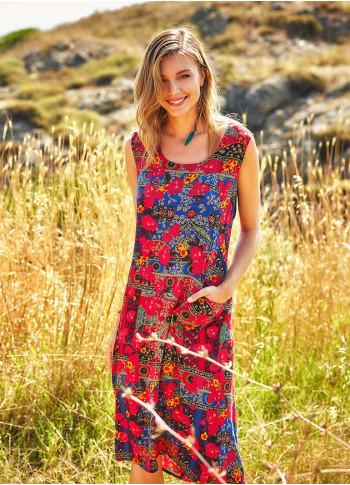 Roma Printed Boat Neck Sleeveless Long Dress