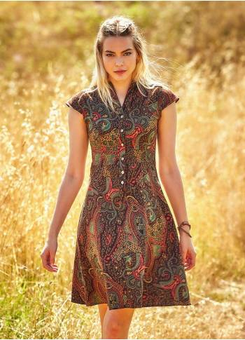 Ethnic Print Shirt Collar Short Sleeve Midi Dress