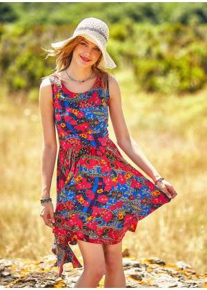 Floral Pattern Asymmetrical Skirt Sleeveless Dress