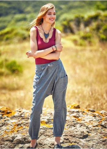 Elastic Waist Hippie Style Drop Crotch Pants
