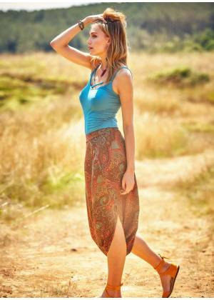 Ethnic Print Low Rise Brown Capri Skirt Pants