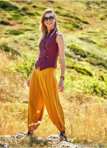Easy Pull On Elastic Waist Yellow Harem Yoga Pants