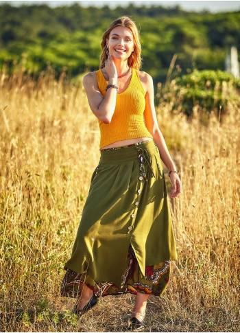 Ethnic Pattern Double Layered Green Maxi Skirt