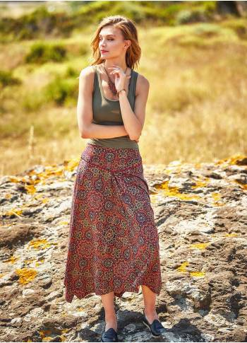 Retro Printed Asymmetrical Hem Flared Midi Skirt