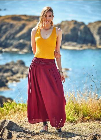 Drapped Wooden Beaded Belt Claret Gypsy Long Skirt